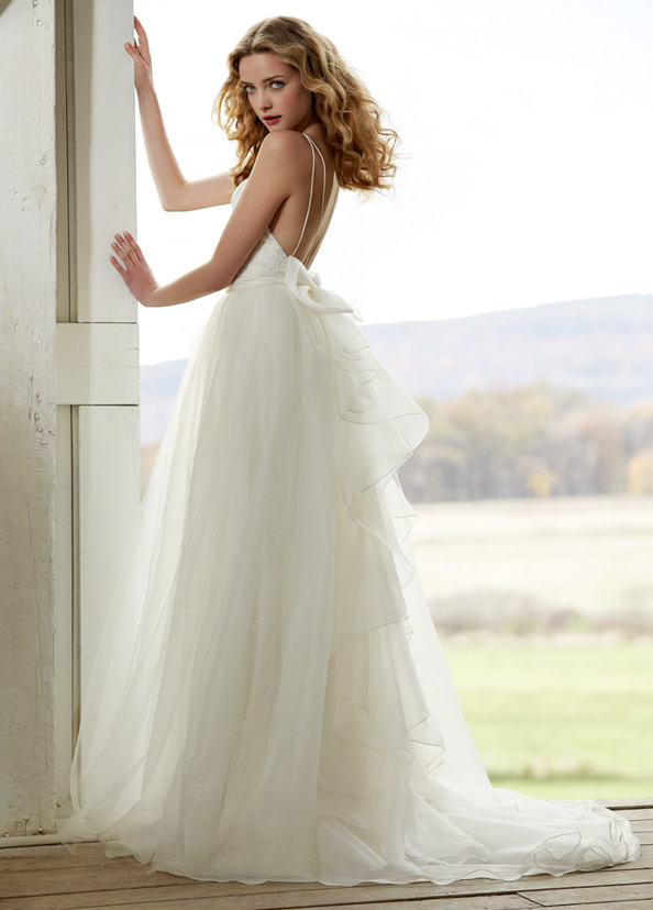 Jim Hjelm Blush Bridal Fitted Slim Sheen Lace Gown Organza Tulle Illusion Overskirt 1201 Zm